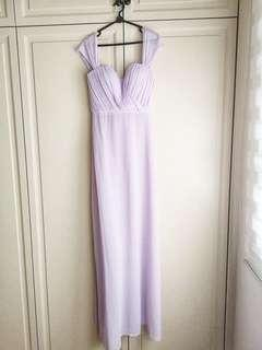 Off shoulder Lilac Evening Gown
