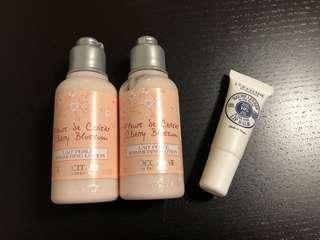 (包郵)L'occitane 櫻花 lotion + 乳木果 lip balm set