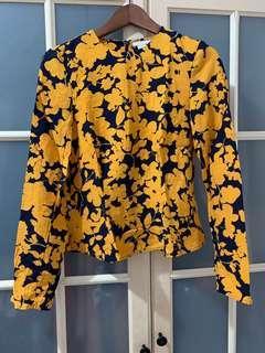 H&M黃黑花有腰身上衣36號
