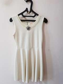 White pearl flare dress