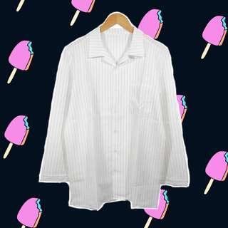 #JAN25 Korean striped oversized shirt black white