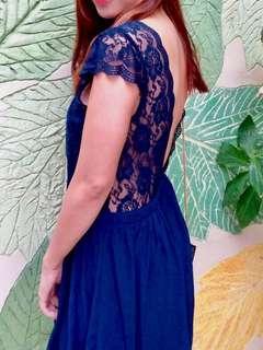 Midnight Blue Sexy Back (Lace) Dress