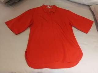 Uniqlo fashionable shirt orange wide sleeve