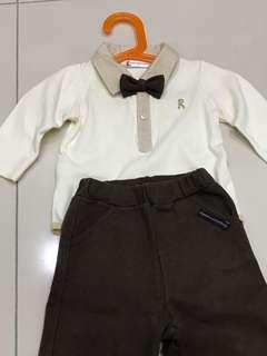 Boys romper come with jacket, bow-tie and pants.