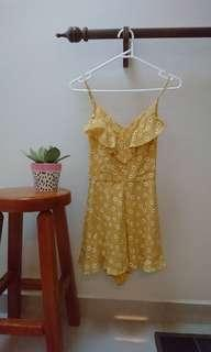 buttercup yellow frilly daisy playsuit xs