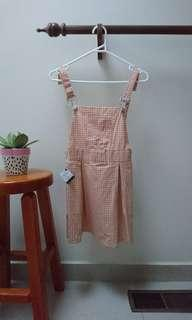 Pink and cream gingham pinafore dress xs