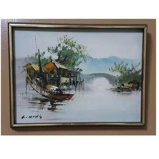 Vintage Oil Painting on Canvas, signed
