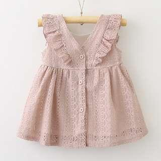 🚚 Rufflle Sleeve Lace Design Dress for Baby Girl Toddler (NCD 013)