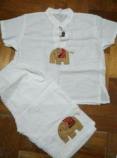 🚚 Thailand Elephant Boys White Clothes Attire Set