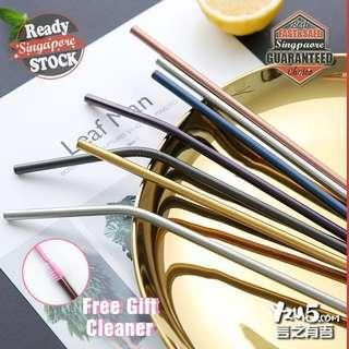 🚚 Food Grade Stainless Steel Metal Eco Friendly Reusable Straw Rose Gold Silver Durable Drinking Straws All in 304 Blue Purple Round Edges Gift Idea Present  FREE Brush Gift [Children Day]  #under9