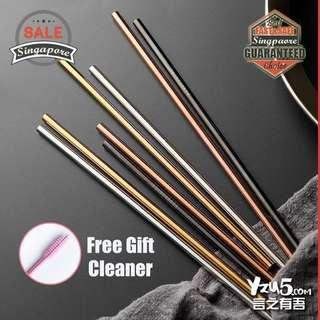 🚚 Food Grade Stainless Steel Metal Eco Friendly Reusable Straw Rose Gold Silver Durable Straws 304 FDA APPROVED FREE Brush