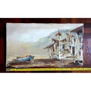 ORIGINAL OIL ANTIQUE PAINTING Boat on the beach SIGNED