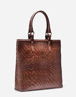 BNWOT Authentic COLE HAAN Genevieve N/S Large handwoven Leather tote