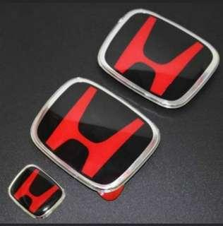 Red & black Honda emblem for Honda Civic FD / FC / Stream / Stream RSZ / Vezel / Jazz / Fit / Freed / Mobilio / Shuttle