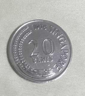 Old Singapore 20 cent coin (Produce in 1978)