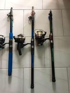 Telescopic Fishing rod and reel set $50/- each