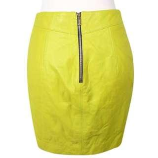 Neon Yellow Pleather Skirt