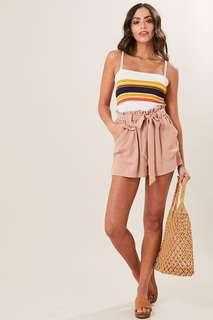 Tie front nude shorts