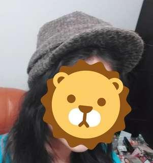 冬季保暖毛線帽/冬季加厚甜美毛線帽/時尚百搭有帽沿針織帽/毛線帽
