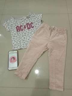 Zara baby preloved pants + H&M t-shirt 18-24m