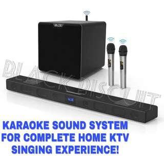 Karaoke Soundbar Wireless Microphone Receiver Mixer System