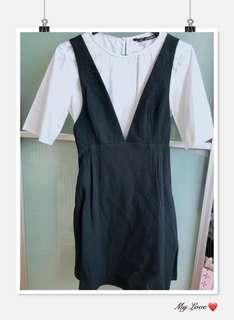 ZARA Navy blue with white shirt dress