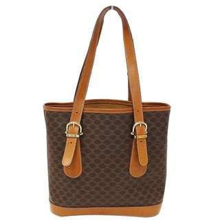 Authentic CELINE Macadam Pattern PVC Leather Brown Shoulder / tote Bag