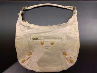 Balenciaga Lamb Skin Hobo (Cream & Large Gold Hardware)