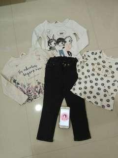 H&M kids preloved celana + kaos 2-3y