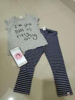 Preloved H&M baby set (celana + kaos) 18-24m