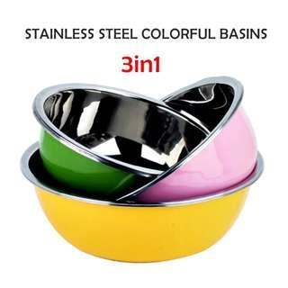 3 IN 1 STAINLESS STEEL COLORFUL BASINS ( 90-01-39 )