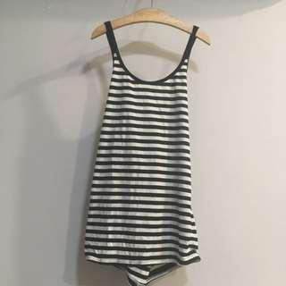 [SALE] Double Strap Halter Neck Sleeveless Crossback Striped Singlet Tank Top