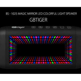 GBTIGER BS-1025 MAGIC MIRROR HIFI LED COLORFUL LIGHT BLUETOOTH SPEAKER 3D DYNAMIC LIGHTING