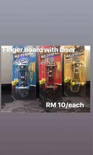 Finger board with graphic laser image