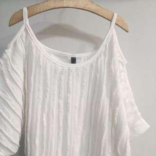 [SALE] White Ruffled Paneled Striped Cold Shoulder Top Blouse