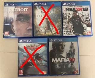 [Pre-owned] PS4 Games Detroit, Assasins Creed Odyssey, nba 2k19, mafia 3, divinity