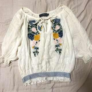 TEMT Embroidered Floral Tie Front Top