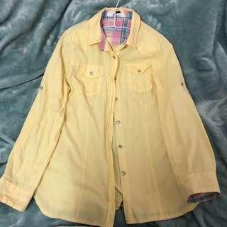 🚚 #九成新 鵝黃長袖襯衫