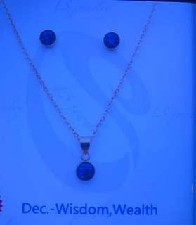 L.S Jewelry Stainless Steel Birthstone Earrings and Necklace Set