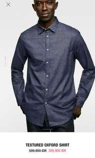 Textured oxford shirt zara Man original