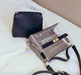 2-in-1 Transparent Sling Bag with Pouch