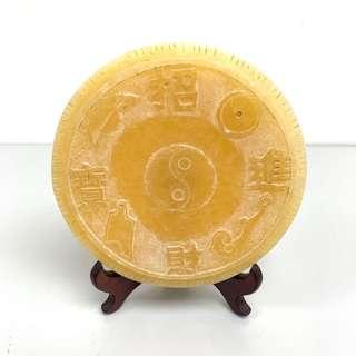 招財進寶 玉石 風水擺件 金錢元寶如意 圓牌 jade vintage fortune display 財運