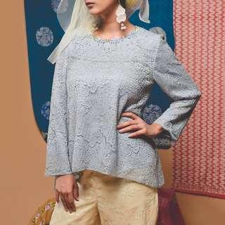 Sewa / Rental Kebaya BINAR Blue Marion Modest Top