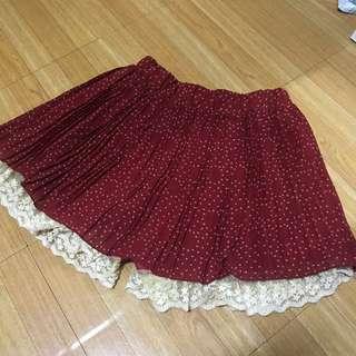 復古點點百褶褲裙