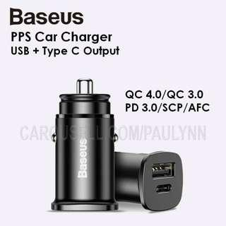 🚚 Fast Charge Baseus PPS Car Charger Dual Output USB & Type C PD 3.0 QC 4.0