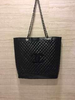 Chanel chain bag with black logo
