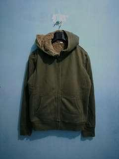 Uniqlo Pile Lined Green Zipper Hoodie S