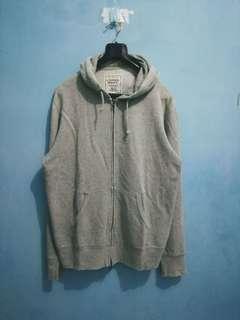 Uniqlo Original Wash Light Grey Zipper Hoodie XL