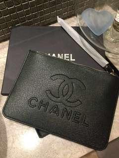 Chanel black envelope pouch