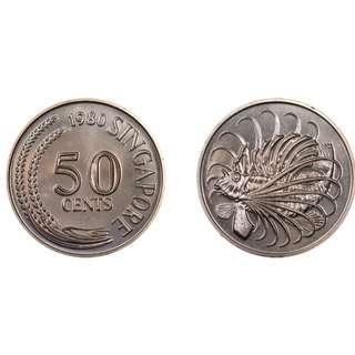 Singapore 50 cents Lion Fish Coins
